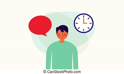 businessman worker with speech bubble and time clock ,hd...