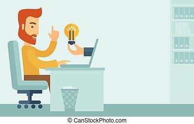 Businessman working. - A happy businessman with beard ...