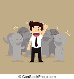 businessman working as a team work success and happiness