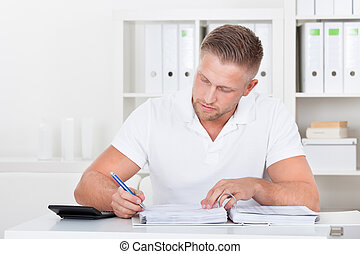 Businessman working at his desk in the office