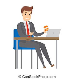 Businessman working at the desk