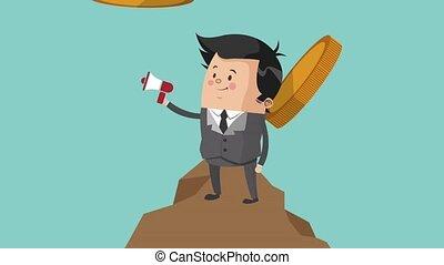 Businessman working cartoon HD animation - Businessman with...