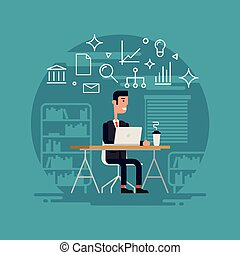 Businessman Working Flat Illustration