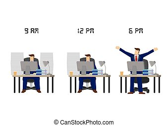 Businessman working from 9 to 6. Concept of work life balance, work progress or work efficiency.