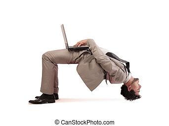 working hard - businessman working hard with laptop in weird...