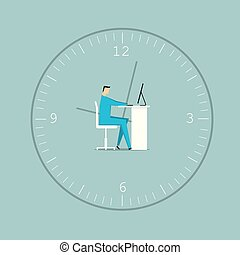 Businessman working, in a big clock. The background is blue.