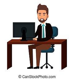 businessman working in computer