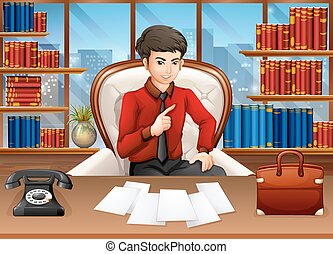 Businessman working in the private office