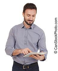 Businessman working on a digital tablet