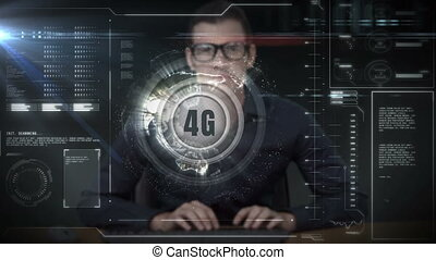 Businessman working on a project about 4g