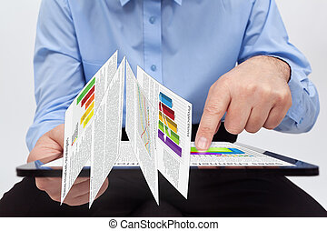 Businessman working on annual reports - Businessman editing...