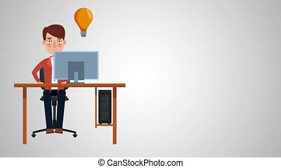 Businessman working on computer HD animation