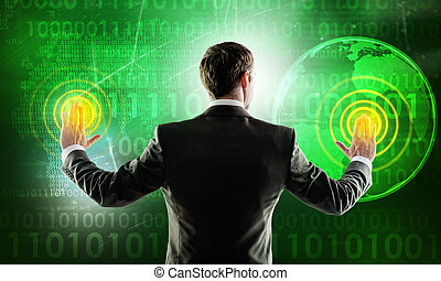 Businessman working on digital background