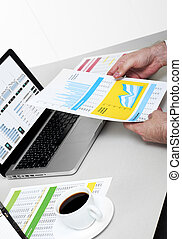 Businessman working on financial data