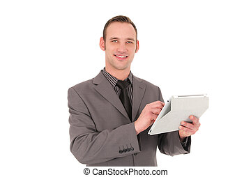 Businessman working on his tablet