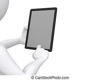businessman working on Ipad  - 3d illustration