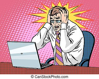 Businessman working on laptop bad news panic - Businessman...