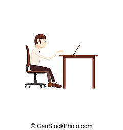 Businessman working on laptop icon, cartoon style