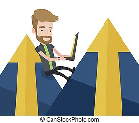 Businessman working on laptop in the mountains.