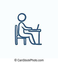 Businessman working on laptop sketch icon.