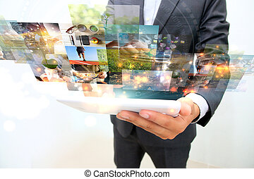 businessman working on smartphone. communication using...