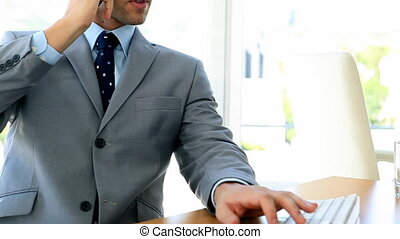 Businessman working on the phone
