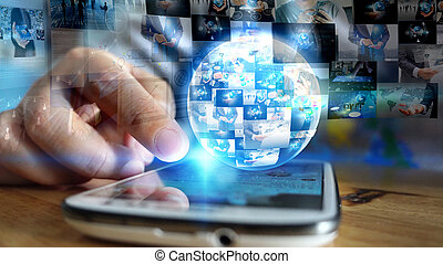 Businessman working on virtual screen. business concept, technology