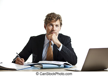 Businessman working out a problem