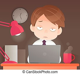 Businessman working overtime late night in office, Sleepy, Vector