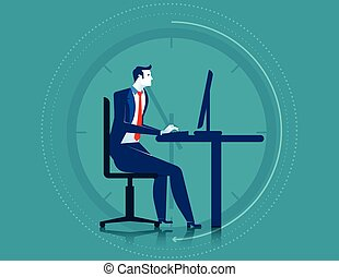 Businessman working overtime on the computer