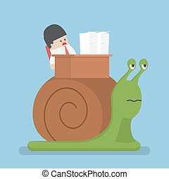 Businessman working slowly on the snail