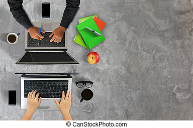 Businessman working together,hands using laptop.