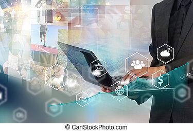 Businessman working using laptop.