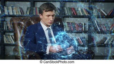 Businessman Working with Big Data Using Smartphone in Slow Motion. Beautiful Digital Interactive Hologram Reacts to Fingers Movements. Augmented Reality Concept. Businessman Series 4K UHD 4096x2160.