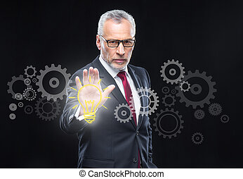 Businessman working with cloud computing diagram