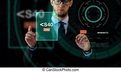 businessman working with data on virtual screen - business,...
