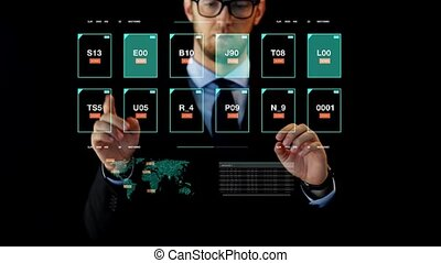 businessman working with data on virtual screen