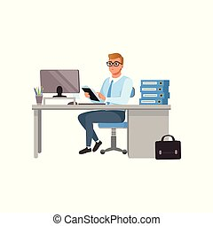 Businessman working with laptop computer at his office, people activity, daily routine vector Illustration isolated on a white background