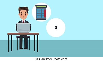 Businessman working with laptop HD animation