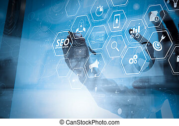 businessman working with modern technology and digital layer effect as business strategy concept