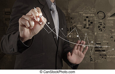 businessman working with new modern computer and hand drawn business strategy on crumpled paper background as concept