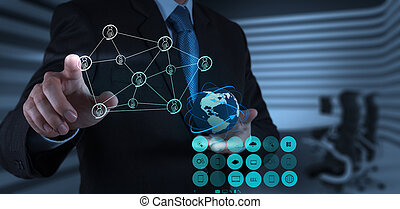 businessman working with new modern computer show social network structure