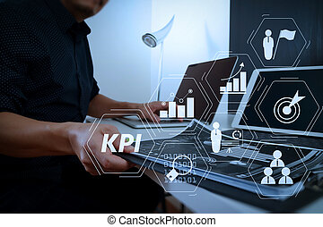 businessman working with smart phone and digital tablet and laptop computer and document in modern office