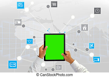 Businessman working with tablet green screen.Social media background