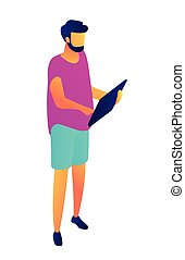 Businessman working with tablet isometric 3D illustration.