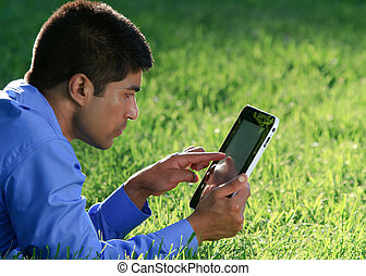 businessman working with tablet