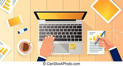 Businessman Workplace Desk Hands Working Laptop Flat Vector Illustration Business Man Top Angle Above View Office