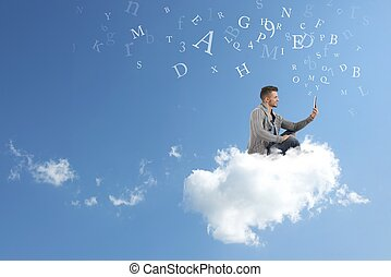 Businessman works over a cloud - Concept of social network...