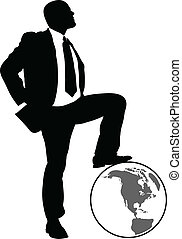 A silhouette of a businessman resting his foot on a globe.