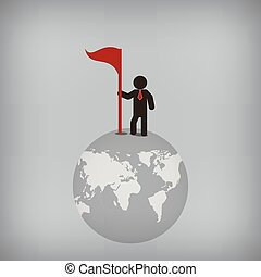 Businessman world control, Vector illustration for concept, presentation.